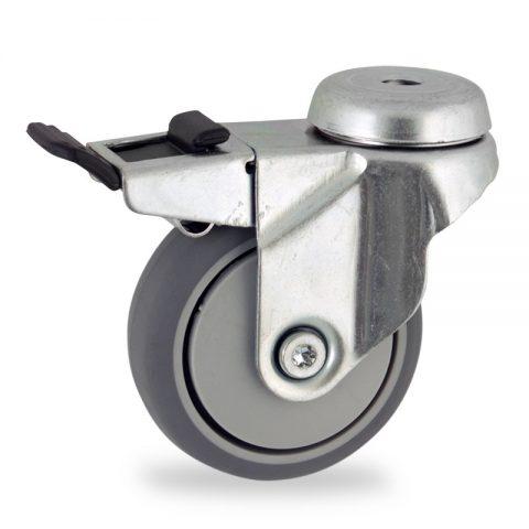 поцинковано Въртящо се колело със спирачка 75mm с малка товароносимост,Колелот о направено изцяло от Сива гума  без лагер Дупка за монтаж