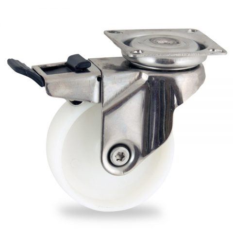 неръждаема Въртящо се колело със спирачка 50mm с малка товароносимост,Колелот о направено изцяло от полиамид без лагер Планка