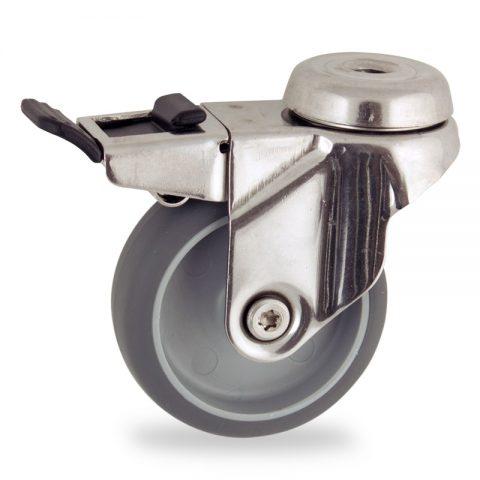 неръждаема Въртящо се колело със спирачка 50mm с малка товароносимост,Колелот о направено изцяло от Сива гума  без лагер Дупка за монтаж