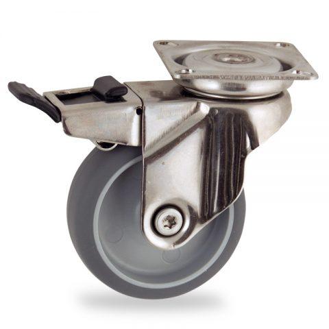 неръждаема Въртящо се колело със спирачка 50mm с малка товароносимост,Колелот о направено изцяло от Сива гума  без лагер Планка