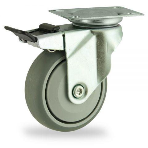 поцинковано Въртящо се колело със спирачка 125mm с малка товароносимост,Колелот о направено изцяло от Сива гума  единичен прецизен лагер  Планка