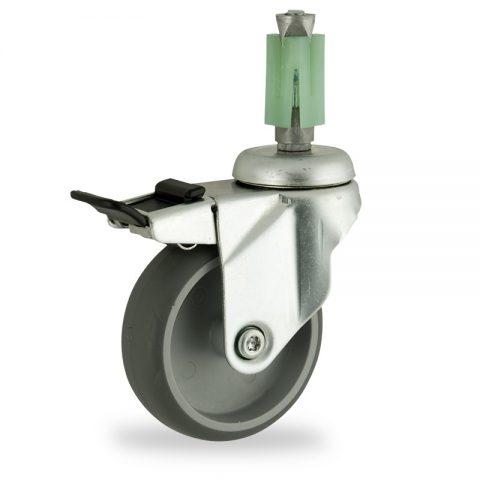 поцинковано Въртящо се колело със спирачка 150mm с малка товароносимост,Колелот о направено изцяло от Сива гума  без лагер квадратен разширител 24/27