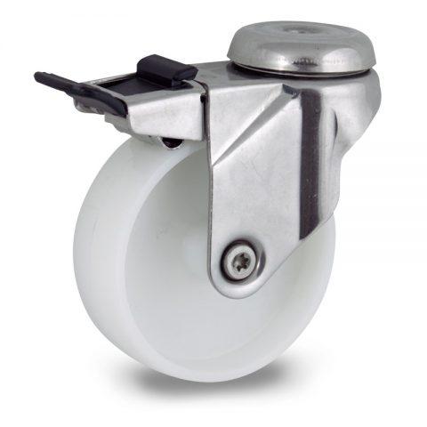 неръждаема Въртящо се колело със спирачка 150mm с малка товароносимост,Колелот о направено изцяло от полиамид без лагер Дупка за монтаж