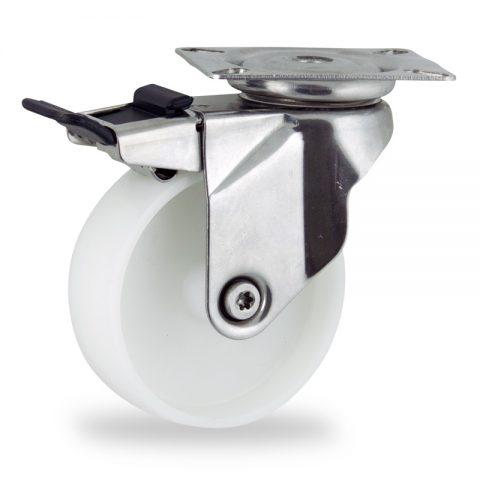 неръждаема Въртящо се колело със спирачка 150mm с малка товароносимост,Колелот о направено изцяло от полиамид без лагер Планка