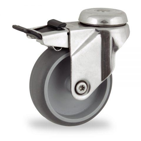 неръждаема Въртящо се колело със спирачка 125mm с малка товароносимост,Колелот о направено изцяло от Сива гума  без лагер Дупка за монтаж