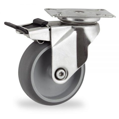неръждаема Въртящо се колело със спирачка 125mm с малка товароносимост,Колелот о направено изцяло от Сива гума  без лагер Планка