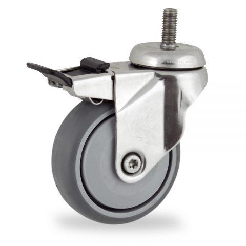 неръждаема Въртящо се колело със спирачка 75mm с малка товароносимост,Колелот о направено изцяло от Сива гума  единичен прецизен лагер  Болт