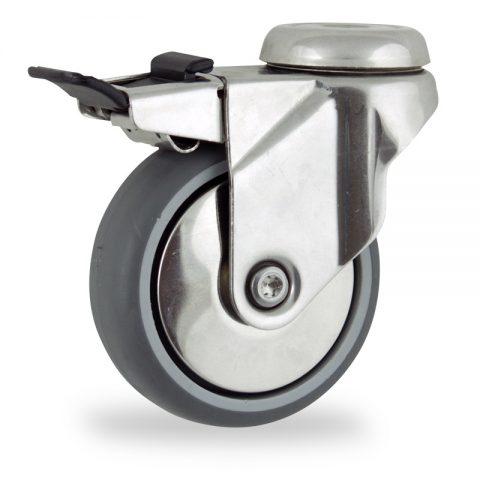 неръждаема Въртящо се колело със спирачка 100mm с малка товароносимост,Колелот о направено изцяло от Сива гума  двоен сачмен лагер  Дупка за монтаж