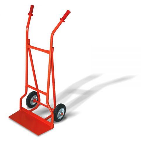 Ръчна количка с две колела от бандажна 200 мм гума, платформа за скачване 210x500 мм