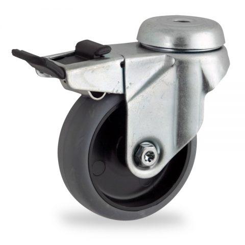 поцинковано Въртящо се колело със спирачка 50mm с малка товароносимост,Колелот о направено изцяло от Сива гума  без лагер Дупка за монтаж