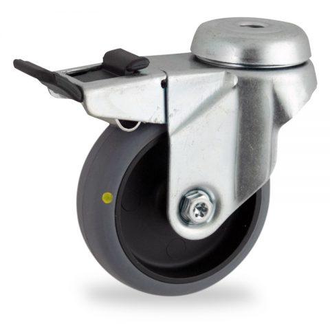 поцинковано Въртящо се колело със спирачка 125mm с малка товароносимост,Колелот о направено изцяло от Електропроводима сива гума  двоен сачмен лагер  Дупка за монтаж