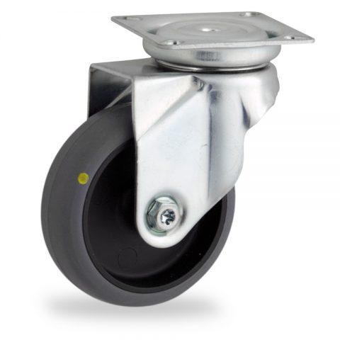 поцинковано Въртящо се колело 50mm с малка товароносимост,Колелот о направено изцяло от Електропроводима сива гума  без лагер Планка