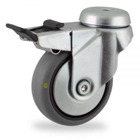 поцинковано Въртящо се колело със спирачка 75mm с малка товароносимост,Колелот о направено изцяло от Електропроводима сива гума  двоен сачмен лагер  Дупка за монтаж