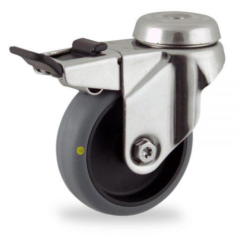 неръждаема Въртящо се колело със спирачка 50mm с малка товароносимост,Колелот о направено изцяло от Електропроводима сива гума  без лагер Дупка за монтаж