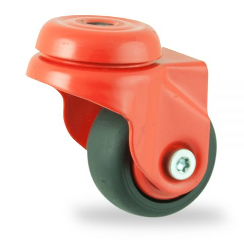 Colouredswivel castor 50mm for light trolleys,wheel made of Black rubber,plain bearing.Bolt hole fittingЧерна гума  без лагер Дупка за монтаж