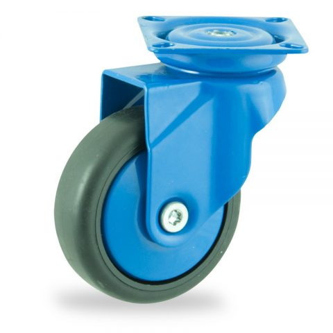 Coloured swivel castor 75mm for light trolleys,wheel made of Black rubber,plain bearing.Top plate fittingЧерна гума  без лагер Планка