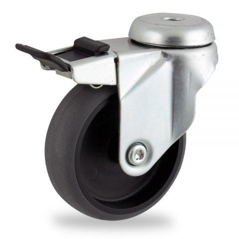 поцинковано Въртящо се колело със спирачка 100mm с малка товароносимост,Колелот о направено изцяло от Електропроводима сива гума  без лагер Дупка за монтаж