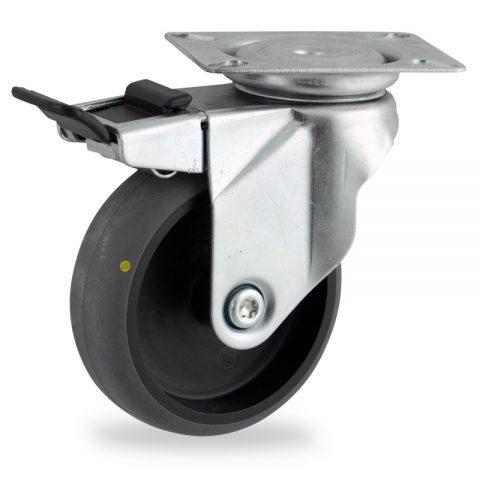 поцинковано Въртящо се колело със спирачка 75mm с малка товароносимост,Колелот о направено изцяло от Електропроводима сива гума  без лагер Планка