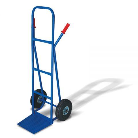 Ръчна количка с две колела от пневматична 260 мм гума, платформа за скачване 290x330 мм