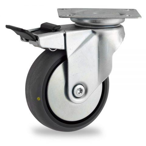поцинковано Въртящо се колело със спирачка 100mm с малка товароносимост,Колелот о направено изцяло от Електропроводима сива гума  без лагер Планка