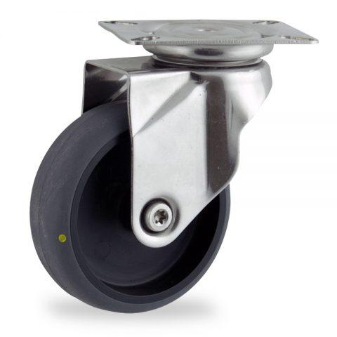 неръждаема Въртящо се колело 125mm с малка товароносимост,Колелот о направено изцяло от Електропроводима сива гума  без лагер Планка