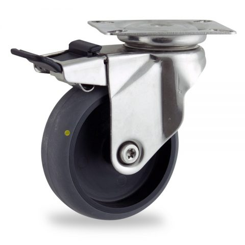 неръждаема Въртящо се колело със спирачка 150mm с малка товароносимост,Колелот о направено изцяло от Електропроводима сива гума  без лагер Планка