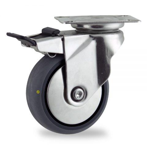 неръждаема Въртящо се колело със спирачка 125mm с малка товароносимост,Колелот о направено изцяло от Електропроводима сива гума  без лагер Планка