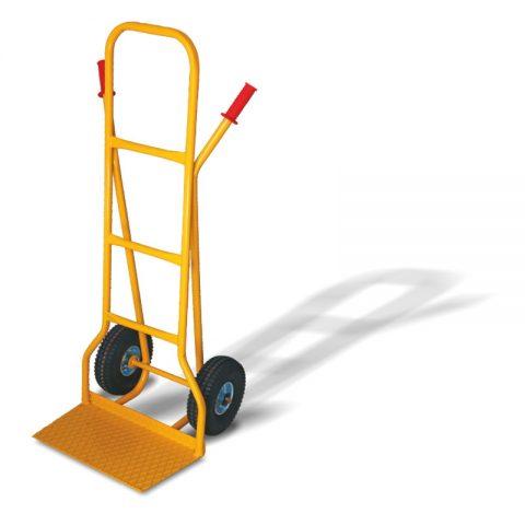 Ръчна количка с две колела от пневматична 260 мм гума, платформа за скачване 290x500 мм