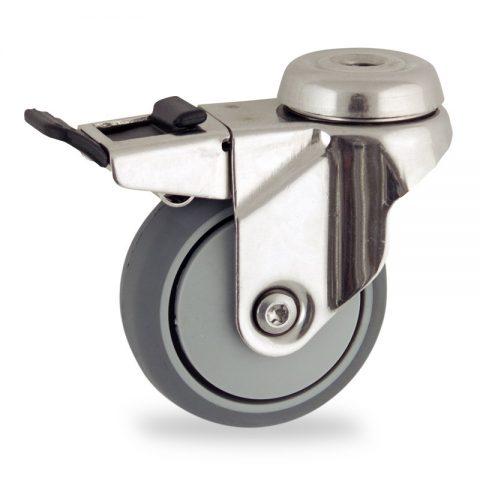 неръждаема Въртящо се колело със спирачка 75mm с малка товароносимост,Колелот о направено изцяло от Сива гума  без лагер Дупка за монтаж