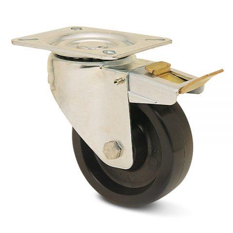 неръждаема hi temperature Индустриални Въртящо се колело със спирачка за колички Термореактивна смолаТермореактивна смолаБез лагер Планка