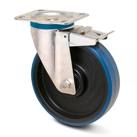 неръждаема Въртящо се колело със спирачка за колички Полиуретан с Полиамид джанта и Без лагер Планка