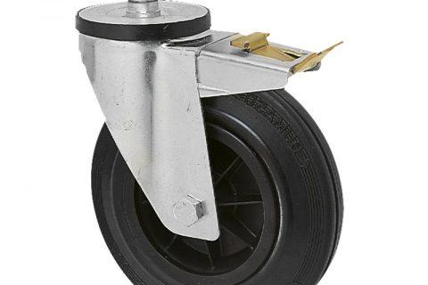 поцинкована Индустриални Въртящо се колело със спирачка за колички Черна гума с Полиамид джанта  и Без лагер Кръгъл болт