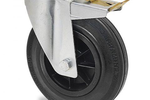 поцинкована Индустриални Въртящо се колело със спирачка за колички Черна гума с Полиамид джанта  и Без лагер Дупка за монтаж