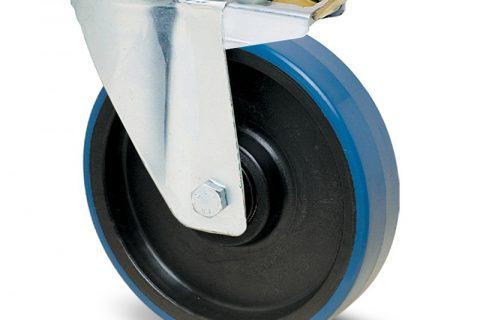 поцинкована Индустриални Въртящо се колело със спирачка за колички Полиуретан с Полиамид джанта и Без лагер Планка
