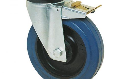 поцинкована Индустриални Въртящо се колело със спирачка за колички Немаркираща еластична гуме с Полиамид джанта  и Двоен сачмен лагер Планка
