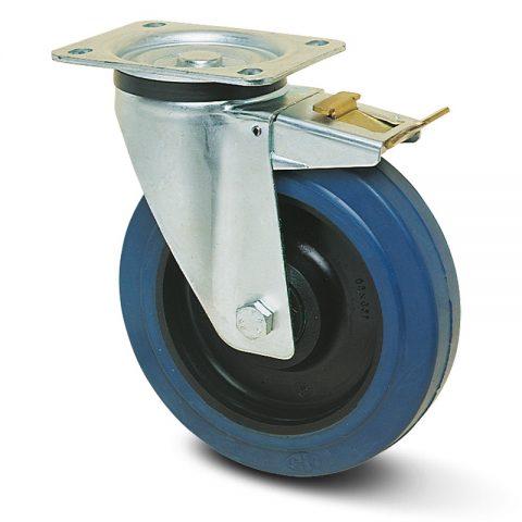 поцинкована Индустриални Въртящо се колело със спирачка за колички Немаркираща еластична гуме с Полиамид джанта  и Ролков лагер Планка
