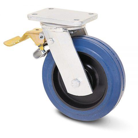 Екстра тежкотоварните Индустриални Въртящо се колело със спирачка за колички Немаркираща еластична гуме с Полиамид джанта  и Двоен сачмен лагер Планка