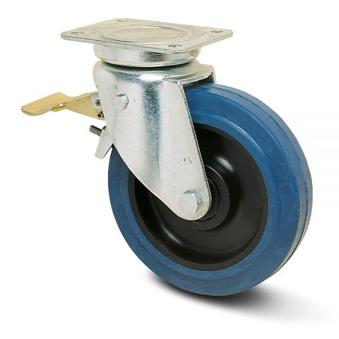 тежкотоварни Индустриални Въртящо се колело със спирачка за колички Немаркираща еластична гуме с Полиамид джанта  и Ролков лагер Планка