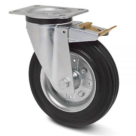 поцинкована Индустриални Въртящо се колело със спирачка за колички Черна гума с Метална джанта и Ролков лагер Планка