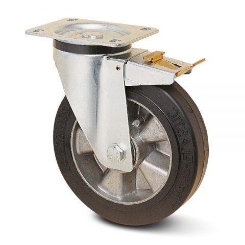 поцинкована Индустриални Въртящо се колело със спирачка за колички Трайно еластична черна гума с Алуминий джанта  и Двоен сачмен лагер Планка