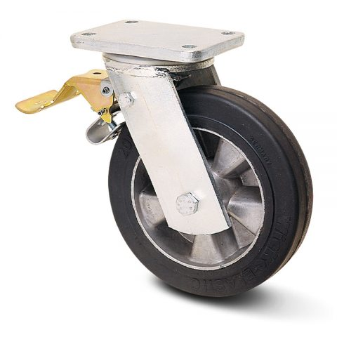 Екстра тежкотоварните Индустриални Въртящо се колело със спирачка за колички Трайно еластична черна гума с Алуминий джанта  и Двоен сачмен лагер Планка