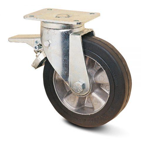 тежкотоварни Индустриални Въртящо се колело със спирачка за колички Трайно еластична черна гума с Алуминий джанта  и Двоен сачмен лагер Планка