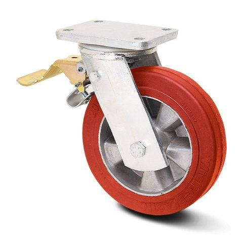 Екстра тежкотоварните Индустриални Въртящо се колело със спирачка за колички Еластичен полиуретан с Алуминий джанта  и Двоен сачмен лагер Планка