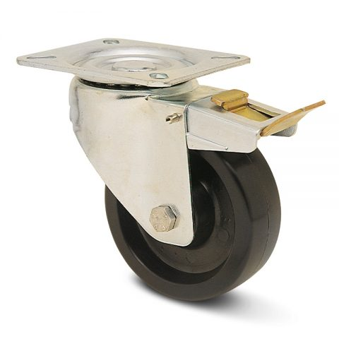 Hi temperature  Индустриални Въртящо се колело със спирачка за колички Термореактивна смолаТермореактивна смолаБез лагер Планка