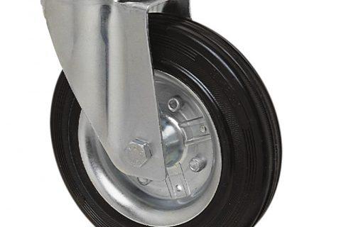 поцинкована Индустриални Въртящо се колело за колички Черна гума с Метална джанта и Ролков лагер Дупка за монтаж
