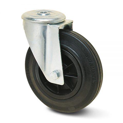 поцинкована Индустриални Въртящо се колело за колички Черна гума с Полиамид джанта  и Без лагер Дупка за монтаж