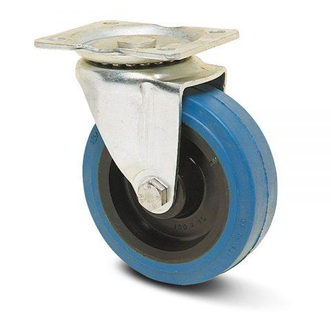 поцинкована Индустриални Въртящо се колело за колички Немаркираща еластична гуме с Полиамид джанта  и Ролков лагер Планка