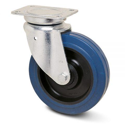 тежкотоварни Индустриални Въртящо се колело за колички Немаркираща еластична гуме с Полиамид джанта  и Двоен сачмен лагер Планка