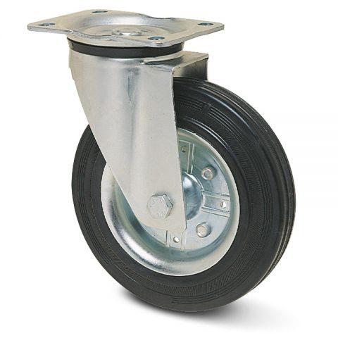 поцинкована Индустриални Въртящо се колело за колички Черна гума с Метална джанта и Ролков лагер Планка