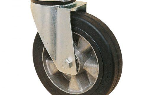 поцинкована Индустриални Въртящо се колело за колички Трайно еластична черна гума с Алуминий джанта  и Двоен сачмен лагер Планка